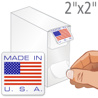Made In USA Flag Label Dispenser Box
