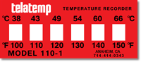 Non-Reversible Temperature Indicator Labels 100-150°F/38-66°C