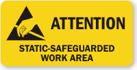 Attention Static Safeguarded Work Area Label