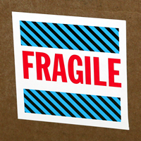 Fragile Blue Stripes Labels