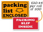 Packing List Labels